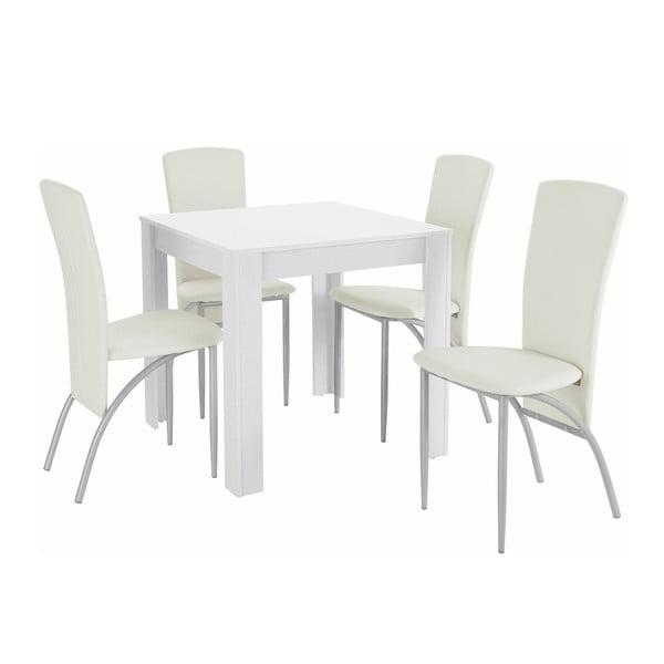 Set jídelního stolu a 4 bílých jídelních židlí Støraa Lori Nevada Duro Puro White