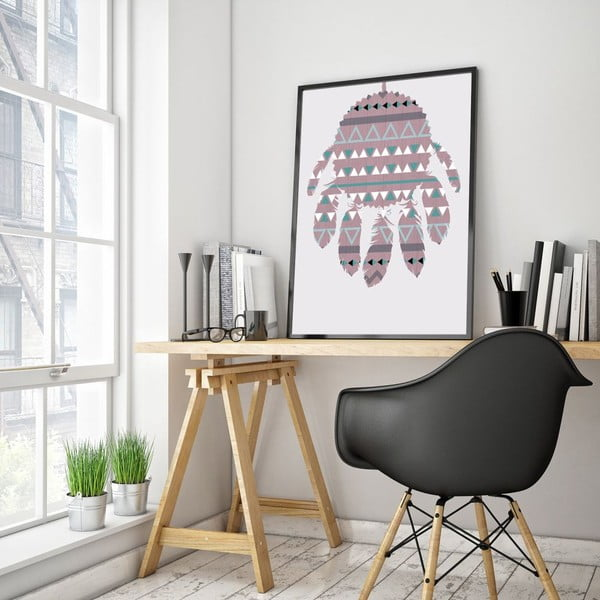 Plakát v dřevěném rámu Violet Dreamcatcher, 38x28 cm