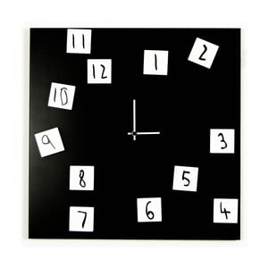 Nástěnné hodiny dESIGNoBJECT.it Changing Clock Black, 50 x 50 cm