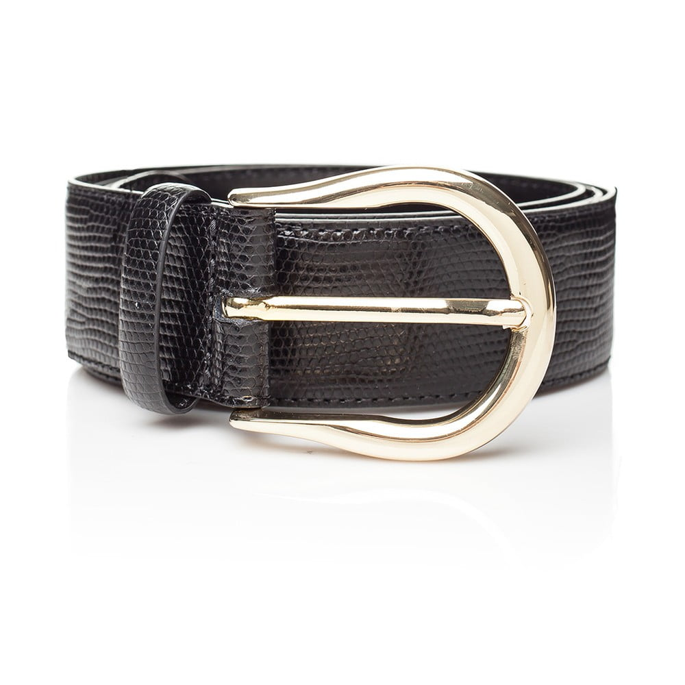 Černý kožený dámský pásek Ferruccio Laconi Tyche, délka 80 cm