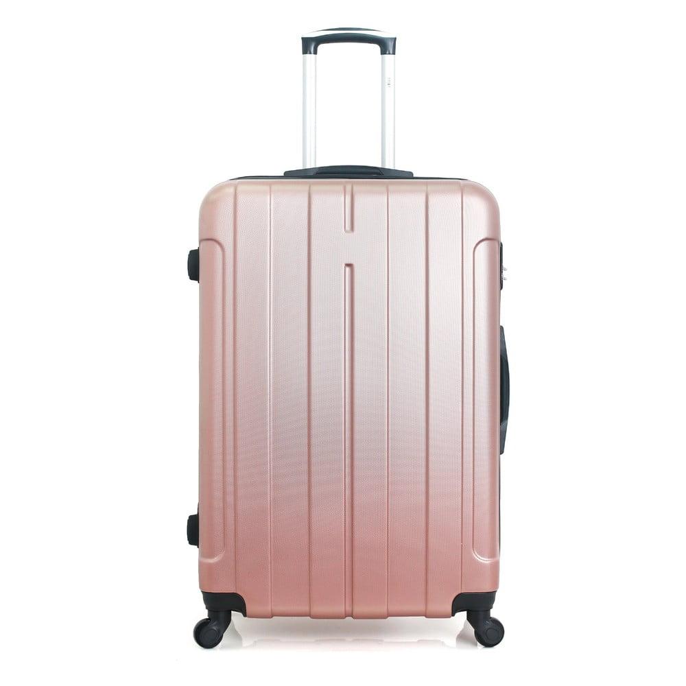 Cestovní kufr v barvě růžového zlata na kolečkách Hero Fogo, 60 l