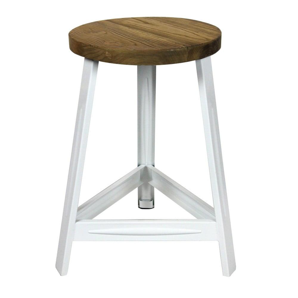 Stolička z jilmového dřeva s bílými nohami Red Cartel Trapist