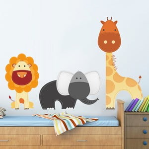 Samolepka na stěnu Lev, žirafa a slon, 50x70 cm