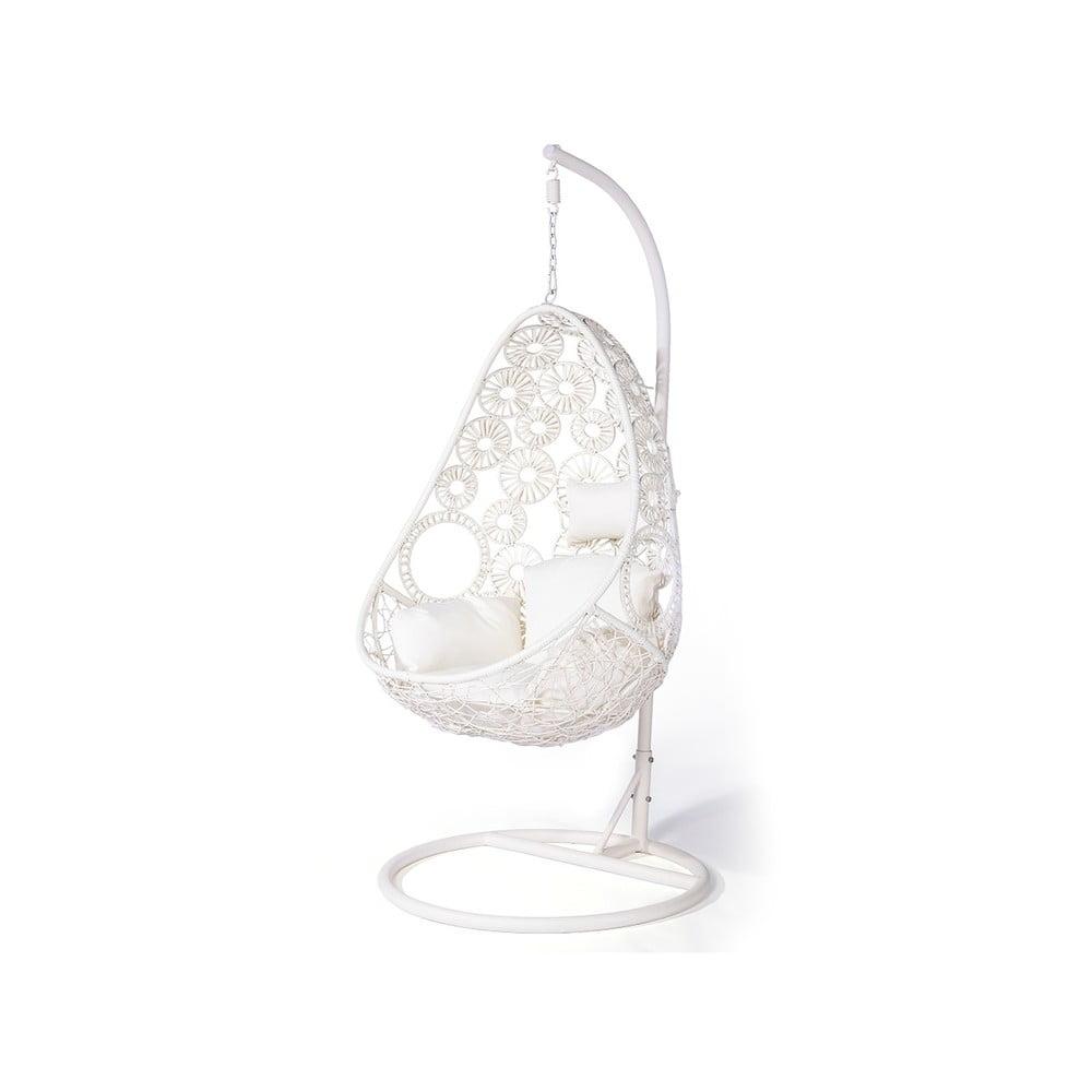 Krémově bílé závěsné křeslo z umělého ratanu Le Bonom Palma