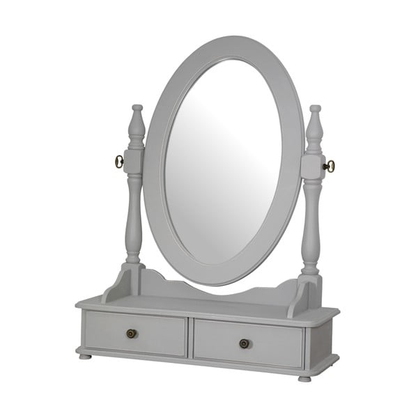 Šedé stolní zrcadlo z topolového dřeva s přírodními detaily Livin Hill Catania