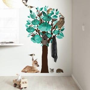 Samolepky Forest Friends Tree s háčky, tyrkys
