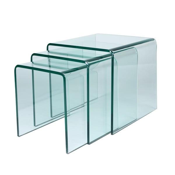 Sada 3 skleněných stolků Glass Coffee