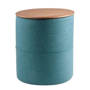 Tyrkysový odkládací stolek s deskou v dekoru dubového dřeva sømcasa Leo