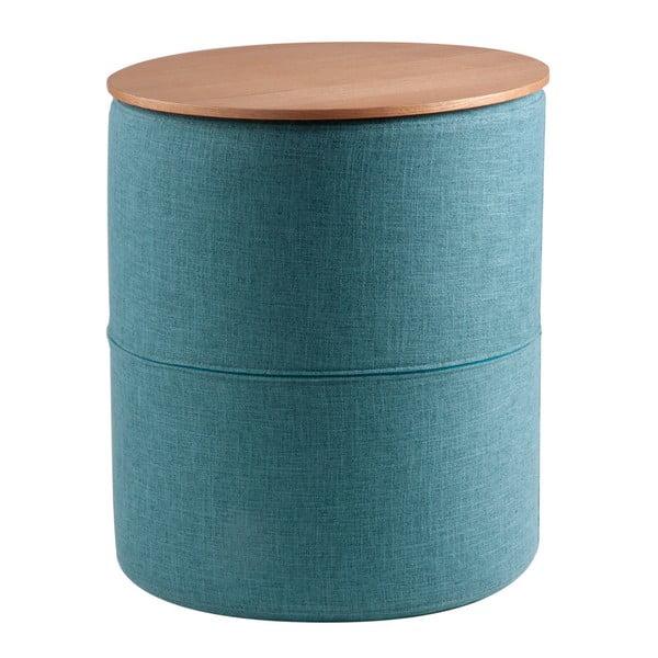 Leo türkizkék tárolóasztal, tölgyfa mintás asztallappal - sømcasa