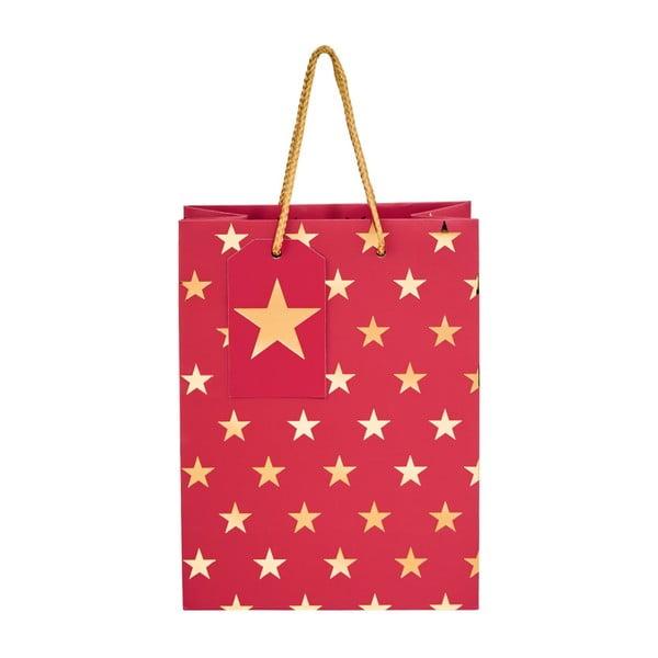 Červená darčeková taška Butlers Hvězdy, výška 9,2 cm