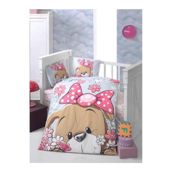 Lenjerie de pat cu cearșaf pentru copii Sevimli, 100 x 150 cm