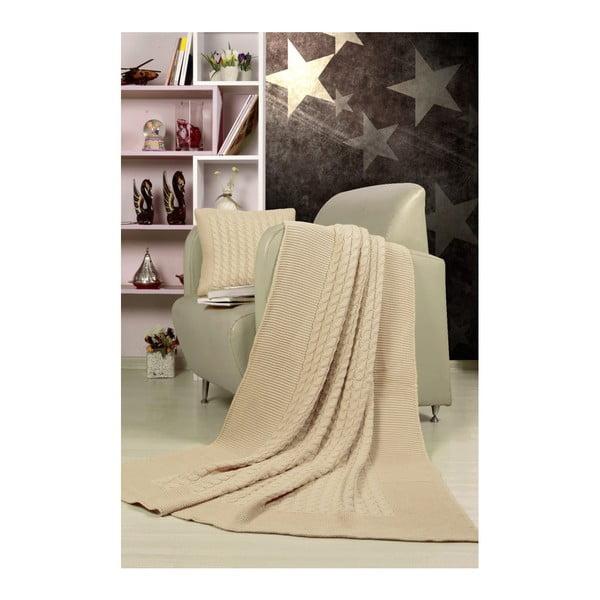 Set sivobéžového plédu a vankúša Kate Louise Tricot Blanket Set Sultan