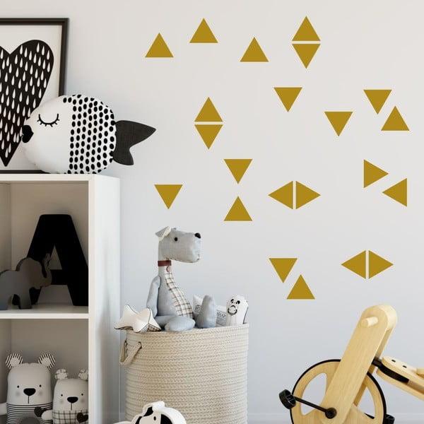 Set autocolante de perete North Carolina Scandinavian Home Decors Triangle, auriu