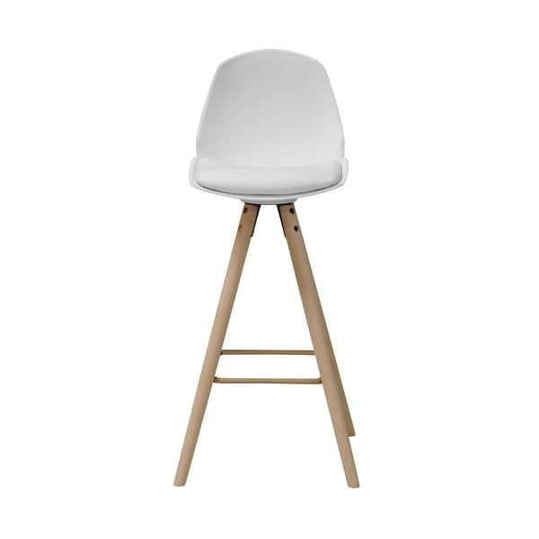 Bílá barová židle s podnožím z dubového dřeva Actona Oslo I.