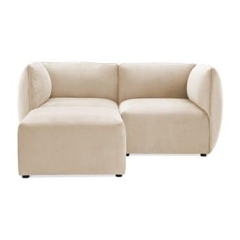 Canapea modulară cu 2 locuri și suport pentru picioare Vivonita Velvet Cube, gri – crem de la Vivonita