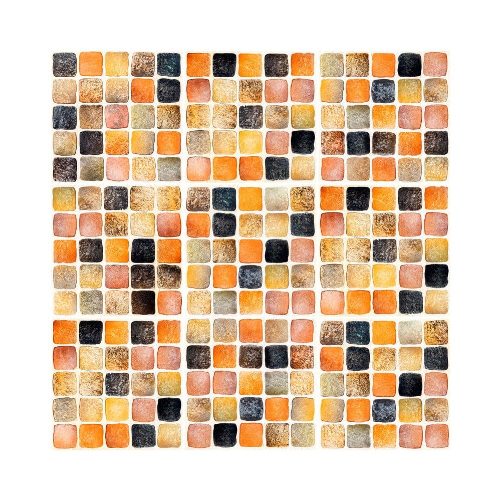 Sada 9 nástěnných samolepek Ambiance Wall Decal Tiles Mosaics Sanded Grade, 15 x 15 cm