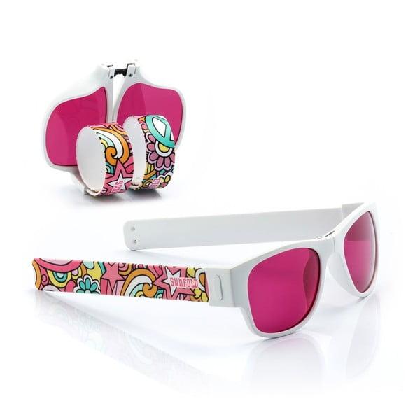 Růžovo-bílé sluneční srolovatelné brýle InnovaGoods Sunfold TR4