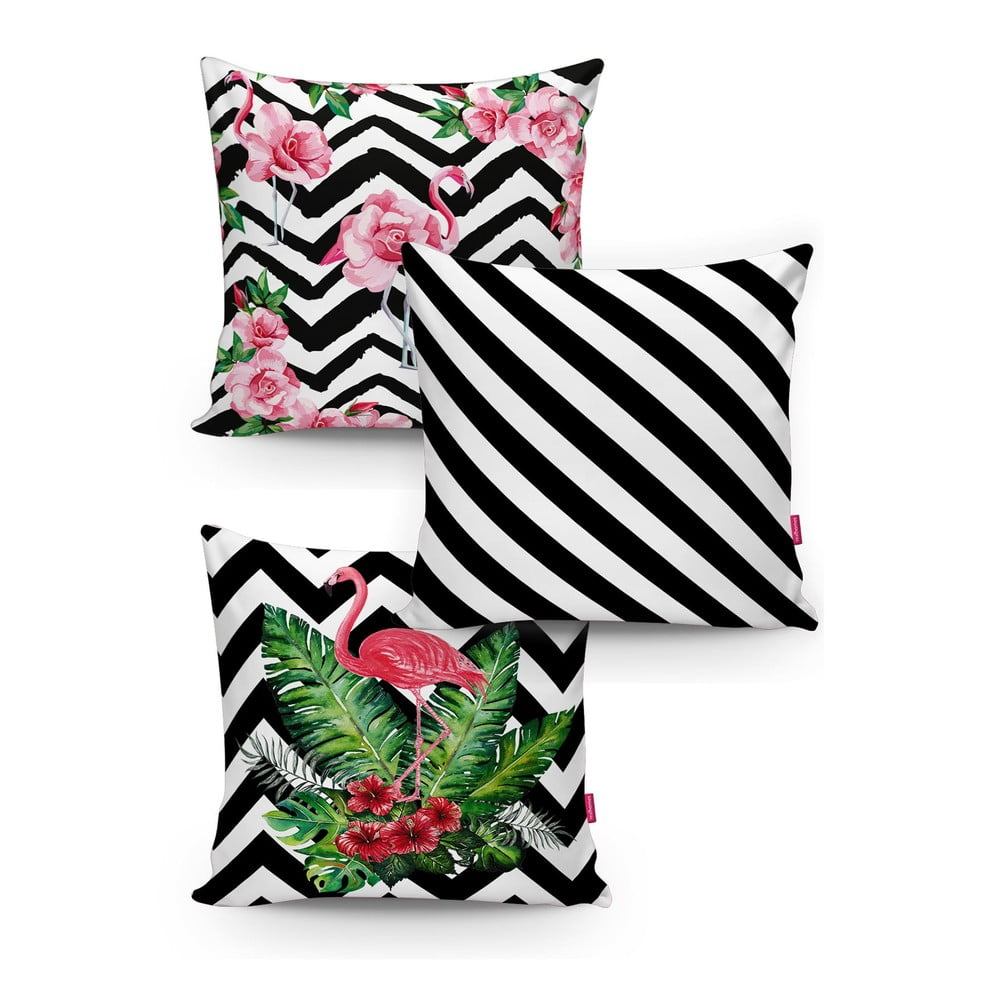 Sada 3 povlaků na polštáře Minimalist Cushion Covers BW Stripes Jungle 45 x 45 cm