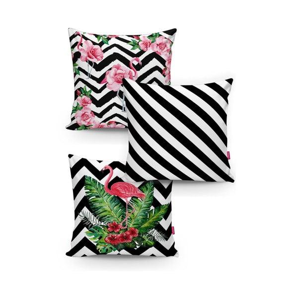 Set 3 fețe de pernă din amestec de bunbac Minimalist Cushion Covers BW Stripes Jungle, 45 x 45 cm