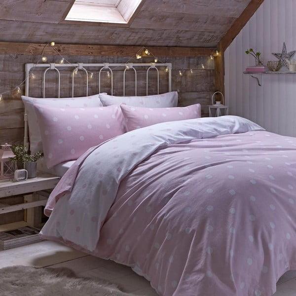 Povlečení Brushed Polka Pink, 230x220 cm