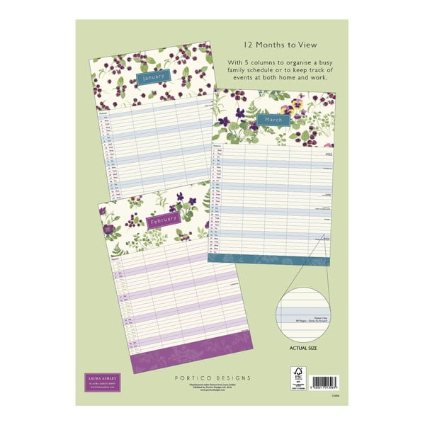 Rodinný kalendář A3 Portico Designs Laura Ashley