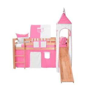 Růžovo-bílý bavlněný hradní set pro dětské patrové postele Mobi furniture Luk a Tom