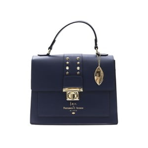 Tmavě modrá kožená kabelka f.e.v. by Francesca E. Versace Salima