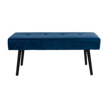 Bancă cu tapițerie de catifea House Nordic Skiby, 100 x 35 cm, albastru închis imagine