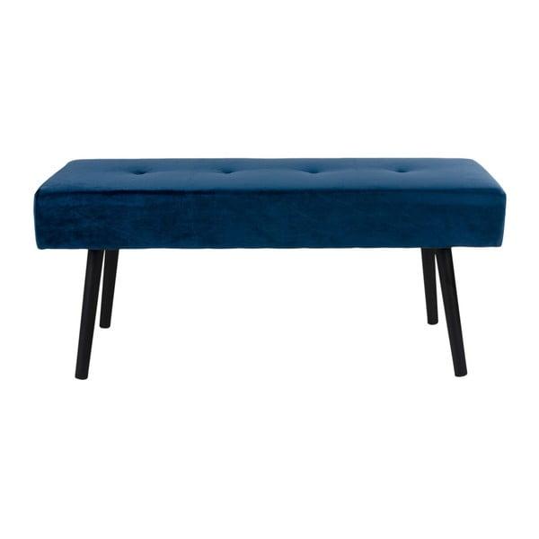 Tmavě modrá polstrovaná lavice se sametovým potahem House Nordic Skiby, 100x35cm