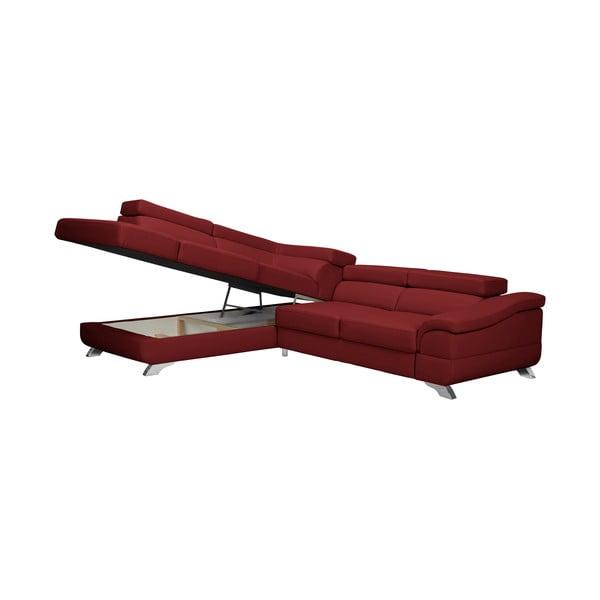 Červená rozkládací rohová pohovka koženkového vzhledu Windsor & Co Sofas Gamma, levý roh