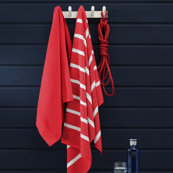 Set 3 ručníků Menton Red, 60x110 cm