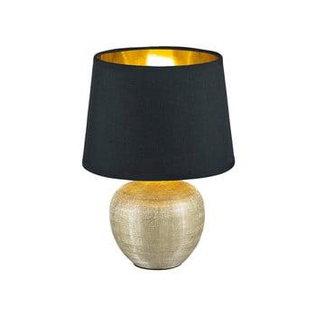 Veioză din ceramică și pânză Trio Luxor, înălțime 26 cm, negru