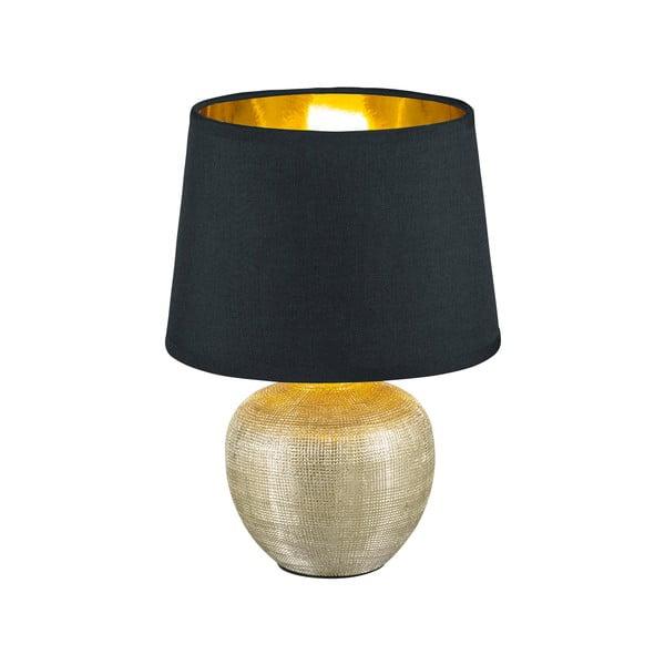 Czarna lampa stołowa z ceramiki i tkaniny Trio Luxor, wys. 26 cm