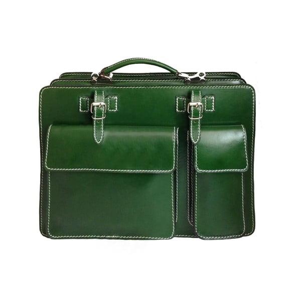 Kožená kabelka/kufřík Cortese, zelená