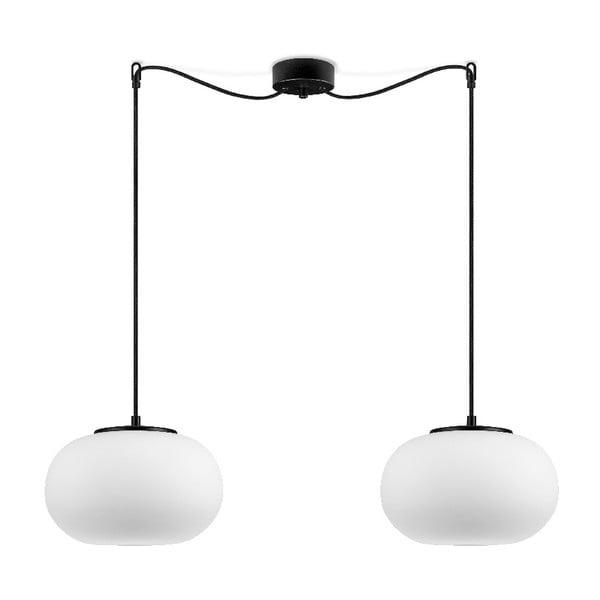 DOSEI fehér 2 ágú függőlámpa, fekete foglalattal - Sotto Luce