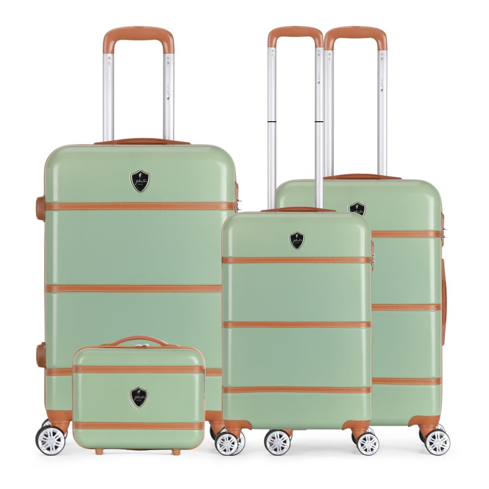 Sada 4 zelených cestovních kufrů na kolečkách GENTLEMAN FARMER Integre & Vanity Duro