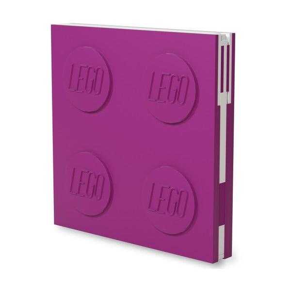 Fuksiový štvorcový zápisník s gélovým perom LEGO®, 15,9 x 15,9 cm
