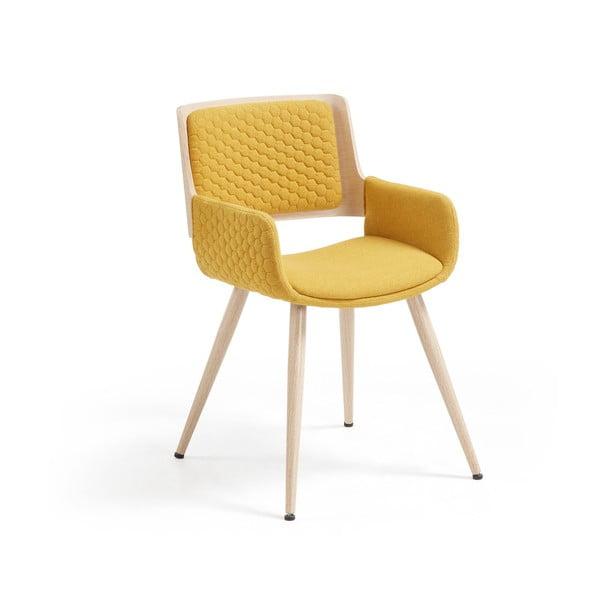 Scaun cu picioare și cotiere metalice La Forma Andre, galben muștar