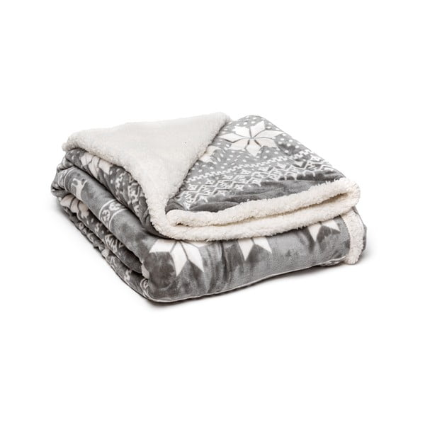 Sivá mikroplyšová deka My House Winter, 150 x 200 cm