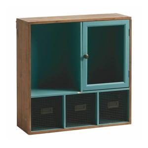 Nástěnná knihovna Antique Blue, 60x60 cm