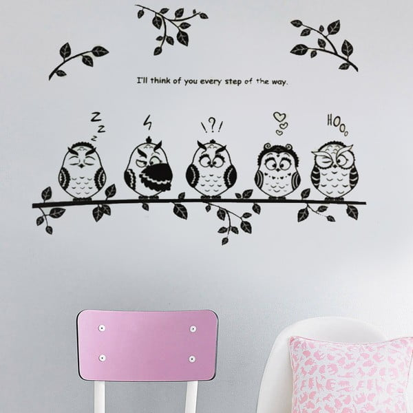 Samolepka na stěnu Sovy na větvi, 50x70 cm