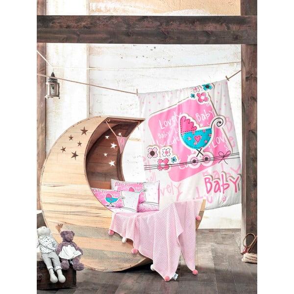 Set dětského povlečení a prostěradla s pletenou dekou Lovely Baby, 100x150 cm