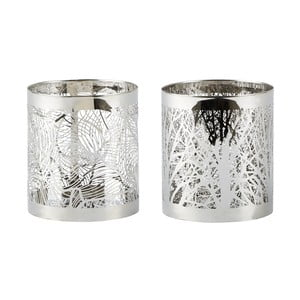 Set 2 sfeșnice KJ Collection Silver Stain, 9 cm