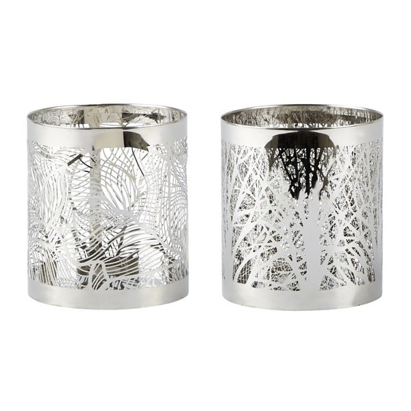 Sada 2 svícnů Villa Collection  Silver Stain, 9 cm