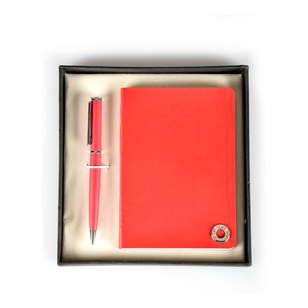 Set červeného pera a zápisníku Balmain v dárkové krabičce