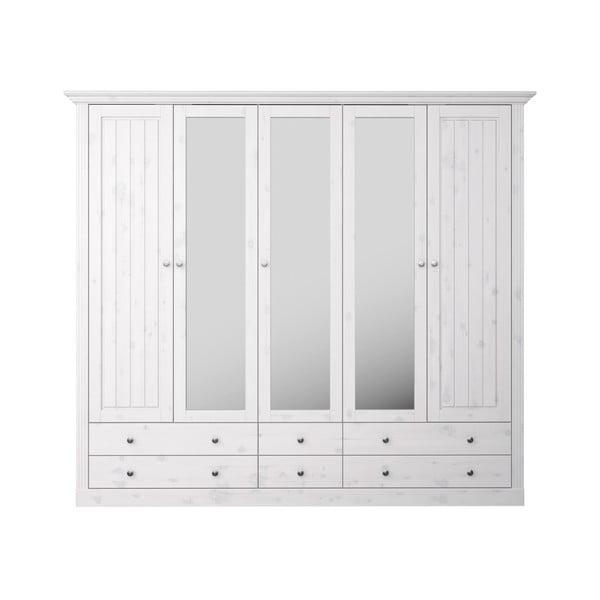 Bílá šatní skříň z borovicového dřeva s bílou deskou a zrcadly Steens Monaco