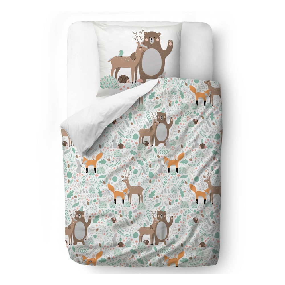 Dětské povlečení z bavlněného saténu Mr. Little Fox Dear Friends, 140x200cm