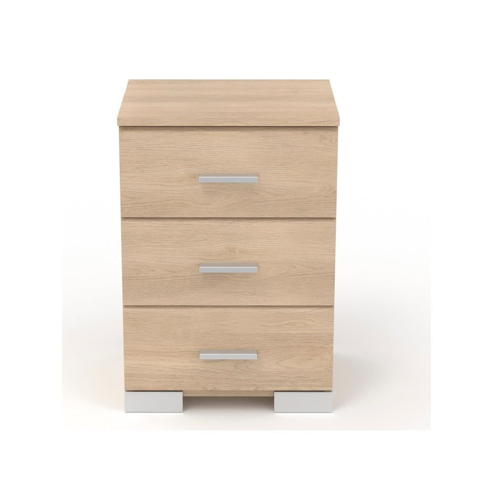 Noční stolek v dekoru dubového dřeva se 3 zásuvkami Parisot Alix
