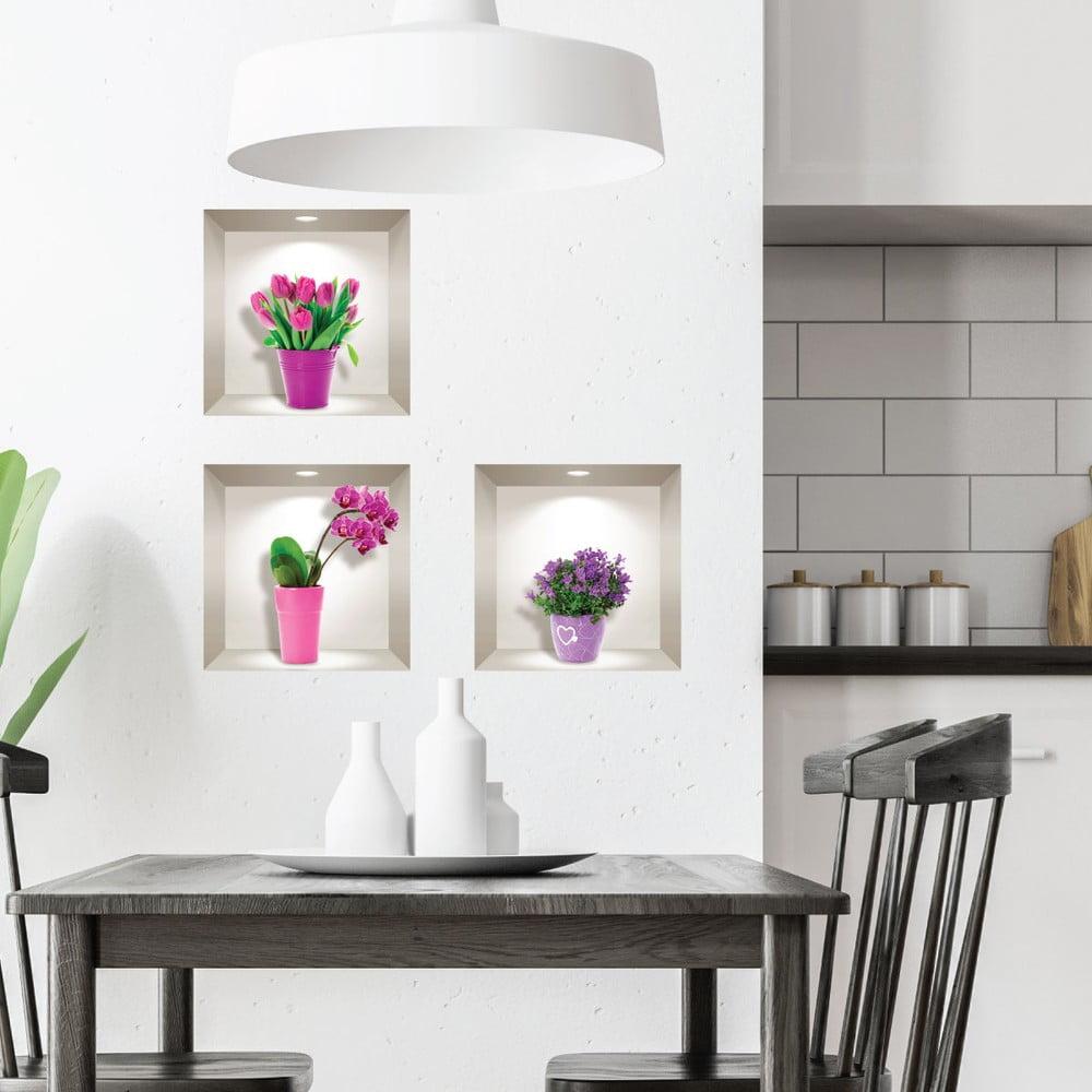 Produktové foto Sada 3 3D samolepek na zeď Ambiance Tulips, Orchids and Lilacs