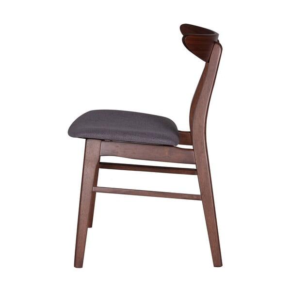 Set 2 scaune din lemn de cauciuc cu șezut gri închis sømcasa Salma